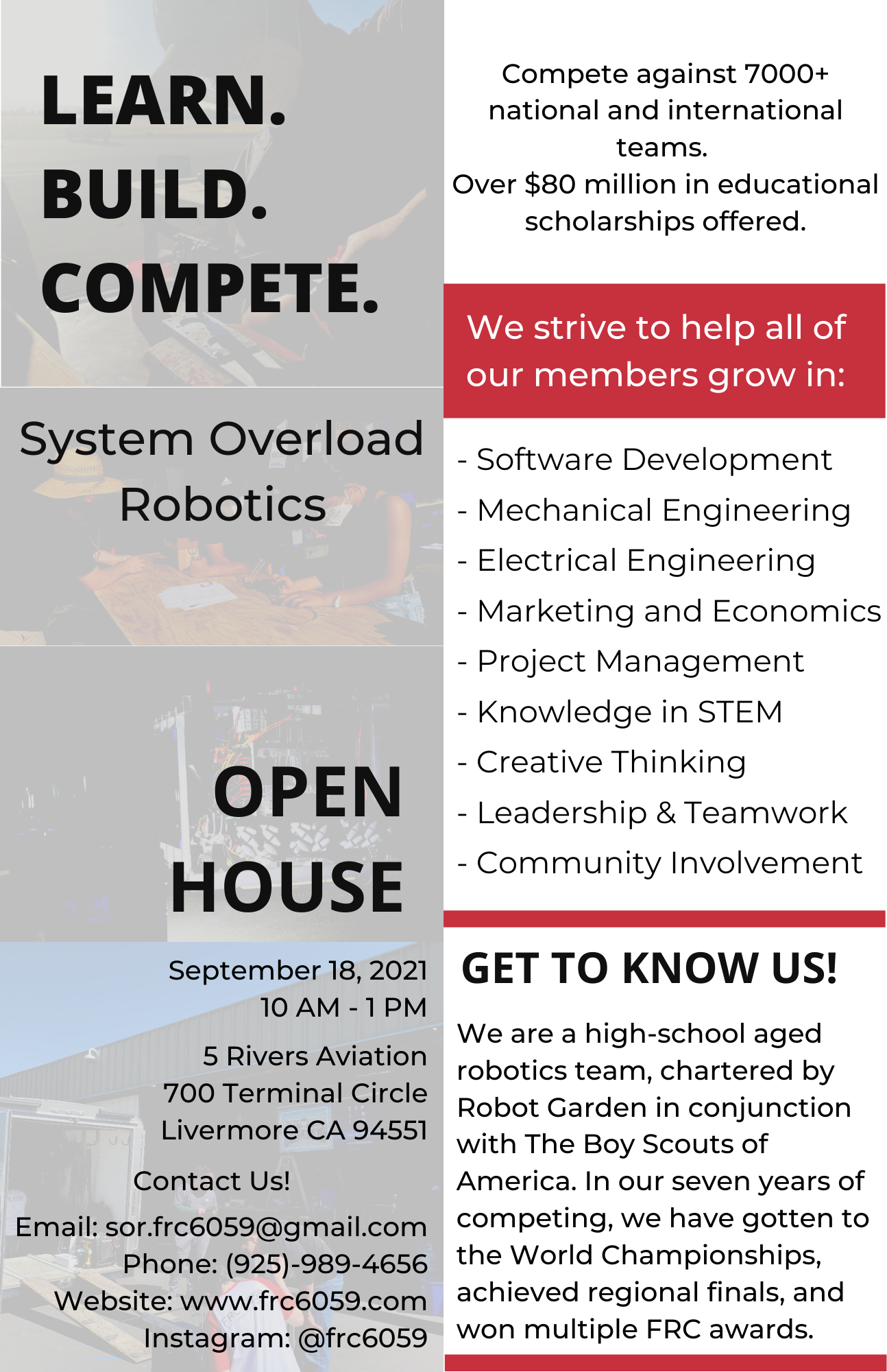 LEARN. BUILD. COMPETE. Open House